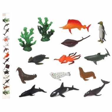 14x plastic boerderij dieren speelgoed figuren 9 cm voor kinderen