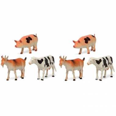 6x plastic boerderij dieren speelgoed figuren 17 cm voor kinderen