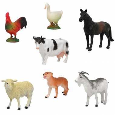 7x plastic boerderij dieren speelgoed figuren 9 cm voor kinderen