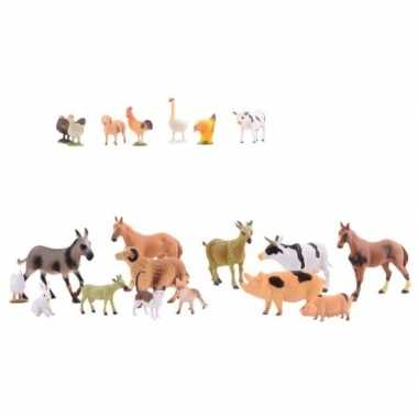 Plastic boerderij diertjes 20 stuks