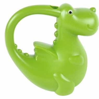 Plastic dieren gieter groene draak voor kinderen 21 cm