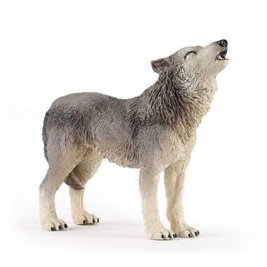 Plastic huilende wolf 9 cm