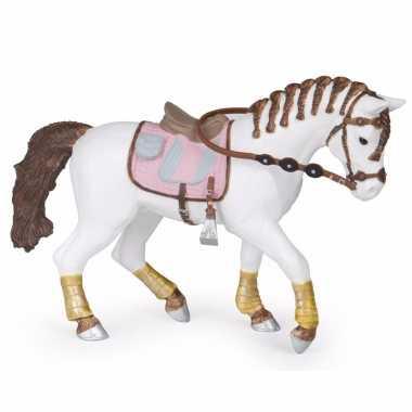 Plastic paard met gevlochten manen 14 5 cm