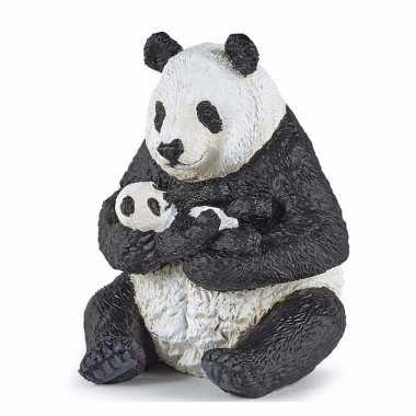 Plastic panda met baby panda 8 cm