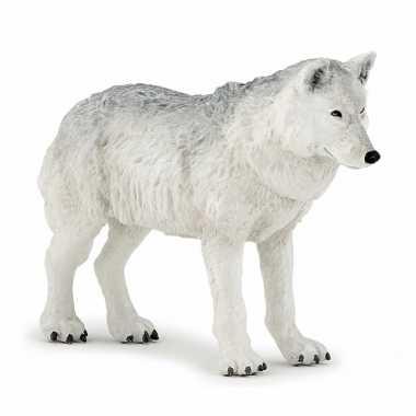 Plastic witte wolf 9,5 cm