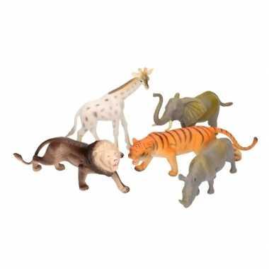 Speelgoed set grote plastic wilde dieren 5 delig