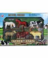 6 delige speelset plastic boerderij dieren