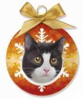 Kinder kerstbal kat zwart wit